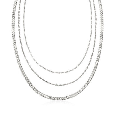 Italian Sterling Silver Multi-Link Layered Necklace, , default