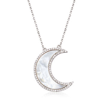 Mother-Of-Pearl and .32 ct. t.w. CZ Half-Moon Necklace in Sterling Silver, , default