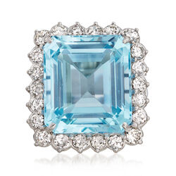 C. 1970 Vintage 22.00 Carat Aquamarine 2.20 ct. t.w. Diamond Ring in 14kt White Gold, , default
