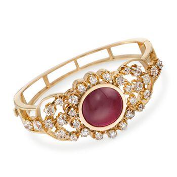 "C. 1880/1960 Vintage 17.00 Carat Rhodolite Garnet and 6.50 ct. t.w. Diamond Bracelet in 14kt Yellow Gold. 7.5"", , default"