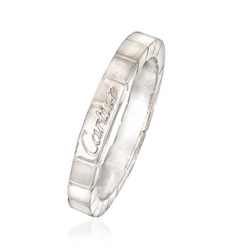 C. 1990 Vintage Cartier 18kt White Gold Square Pattern Ring. Size 6.5