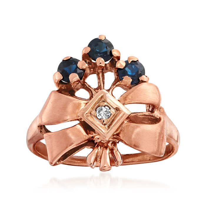 C. 1940 Vintage .61 ct. t.w. Sapphire and Diamond-Accented Bow Ring in 14kt Rose Gold. Size 6.25, , default