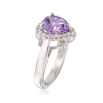 2.80 Carat Amethyst and .40 ct. t.w. White Topaz Heart Ring in Sterling Silver, , default