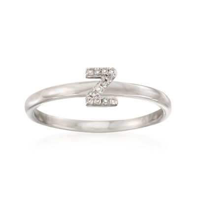 "Diamond Accent Mini Initial ""Z"" Ring in Sterling Silver, , default"
