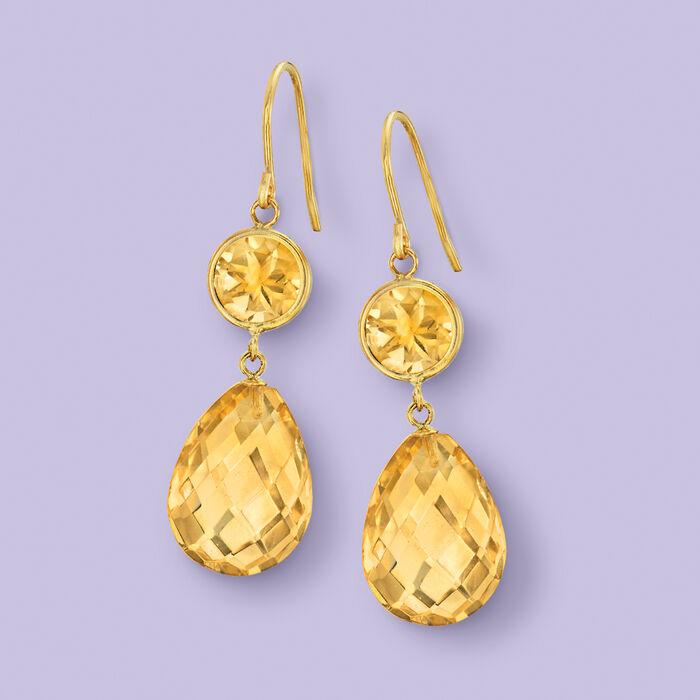 19.00 ct. t.w. Citrine Drop Earrings in 14kt Yellow Gold