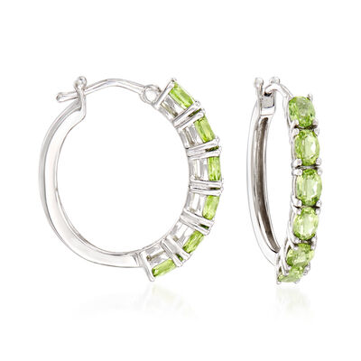 2.30 ct. t.w. Peridot Hoop Earrings in Sterling Silver, , default
