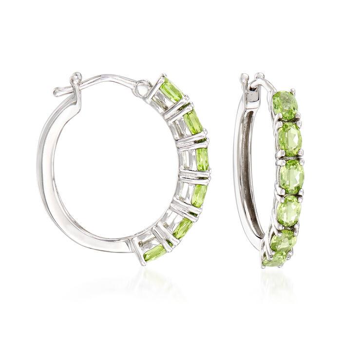 2.30 ct. t.w. Peridot Hoop Earrings in Sterling Silver