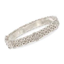 .20 ct. t.w. Diamond Station Byzantine Link Bracelet in Sterling Silver, , default
