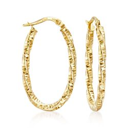 Italian 14kt Yellow Gold Diamond-Cut Hoop Earrings, , default