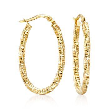"""Italian 14kt Yellow Gold Diamond-Cut Hoop Earrings. 1 1/8"""", , default"""