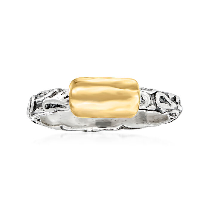 Sterling Silver and 14kt Yellow Gold Curved Top Ring