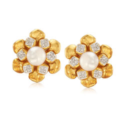 C. 1980 Vintage 9mm Cultured Pearl and .75 ct. t.w. Diamond Flower Clip-On Earrings in 18kt Yellow Gold , , default