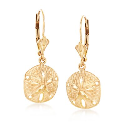 14kt Yellow Gold Sand Dollar Drop Earrings , , default