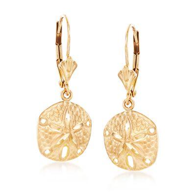 14kt Yellow Gold Sand Dollar Drop Earrings , , default