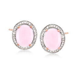 Pink Opal and Diamond Earrings in 14kt Rose Gold, , default