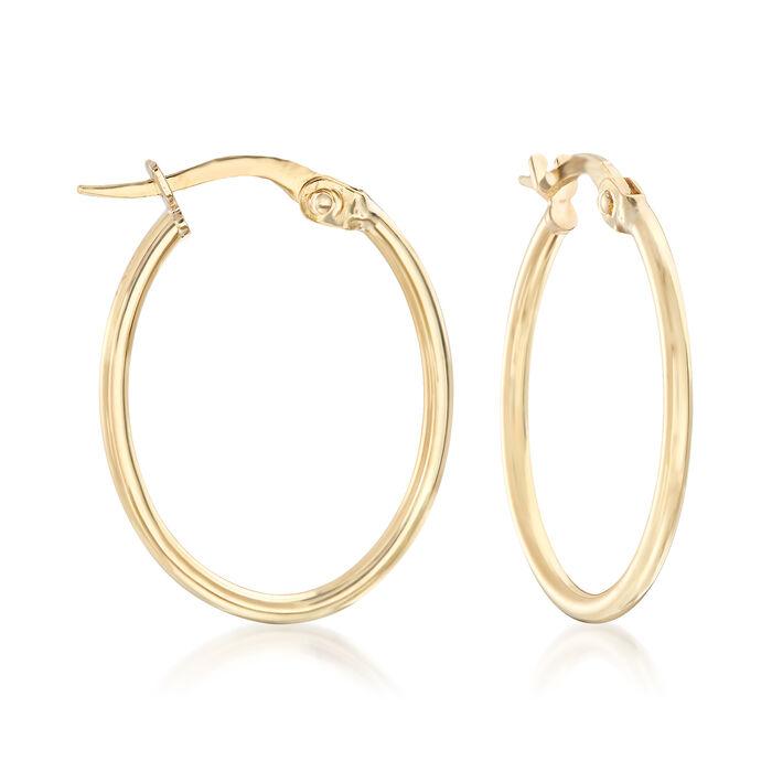 """Italian 18kt Yellow Gold Oval Hoop Earrings. 7/8"""""""