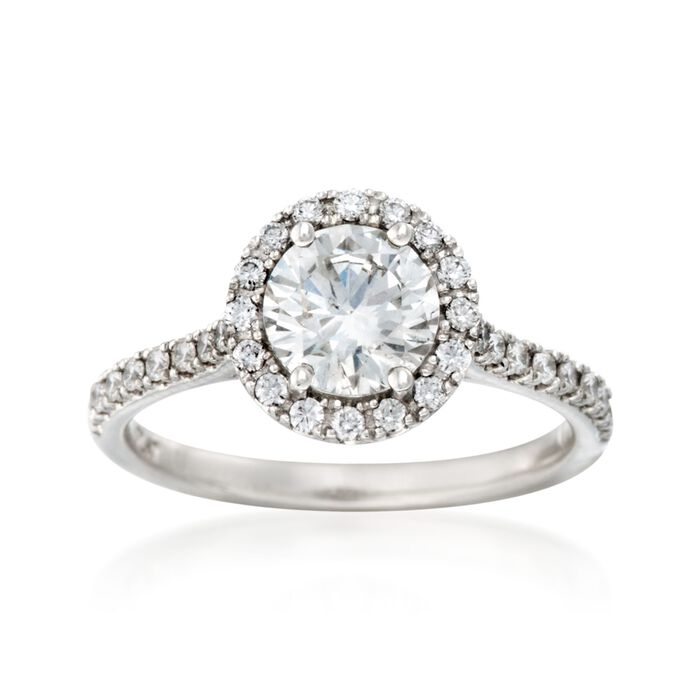 1.28 ct. t.w. Certified Diamond Halo Engagement Ring in Platinum