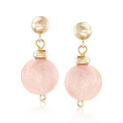 14.00 ct. t.w. Morganite Bead Drop Earrings in 14kt Yellow Gold, , default