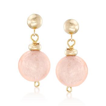 14.00 ct. t.w. Morganite Bead Drop Earrings in 14kt Yellow Gold, , default