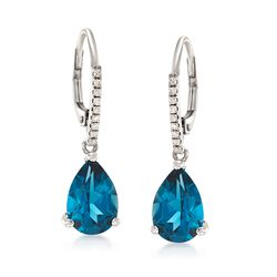 4.50 ct. t.w. London Blue Topaz and .10 ct. t.w. Diamond Drop Earrings in 14kt White Gold, , default