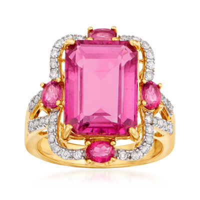 9.80 ct. t.w. Pink Topaz and .32 ct. t.w. Diamond Ring in 14kt Yellow Gold