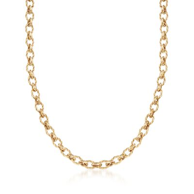 14kt Yellow Gold Oval and Circle Link Necklace, , default