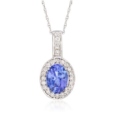 1.15 Carat Tanzanite and .21 ct. t.w. Diamond Pendant Necklace in 14kt White Gold, , default