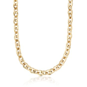 "Italian 18kt Yellow Gold Flat Cable-Link Necklace. 18.25"", , default"