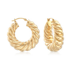 Andiamo 14kt Gold Ribbed Hoop Earrings, , default