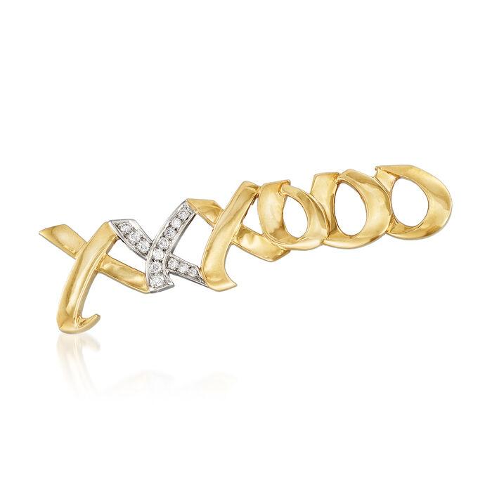 C. 1983 Vintage Tiffany Jewelry .25 ct. t.w. Diamond XO Pin in 18kt Two-Tone Gold