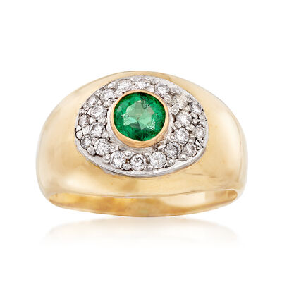 C. 1970 Vintage .50 Carat Emerald and .35 ct. t.w. Diamond Ring in 18kt Yellow Gold, , default