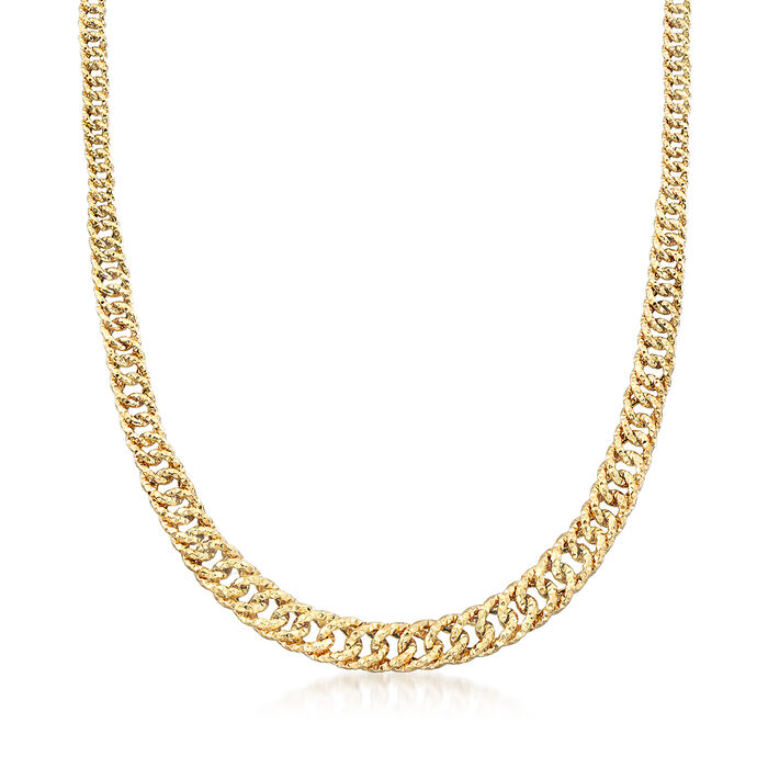 14kt Yellow Gold Textured Graduated Link Necklace, , default