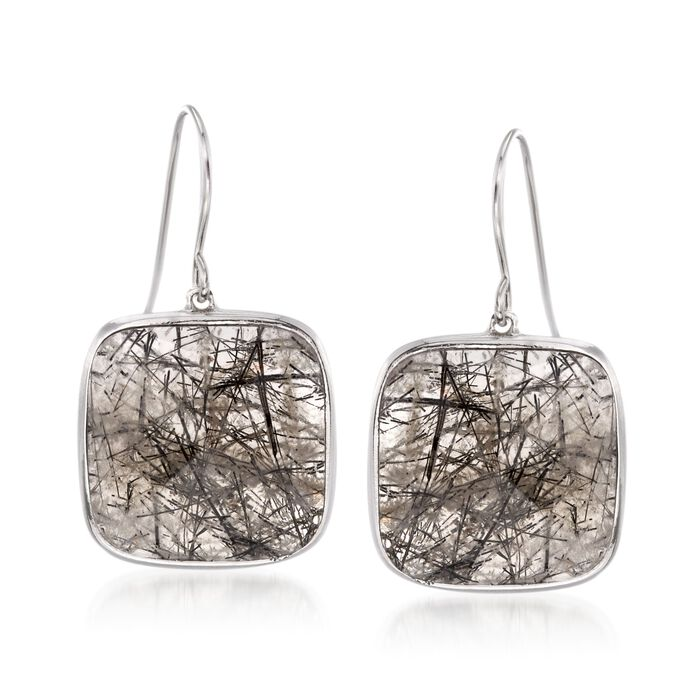 19.00 ct. t.w. Tourmalinated Quartz Drop Earrings in Sterling Silver, , default