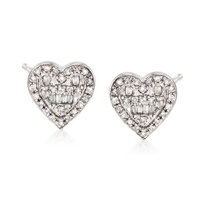 .21 ct. t.w. Diamond Heart Earrings in 14kt White Gold, , default