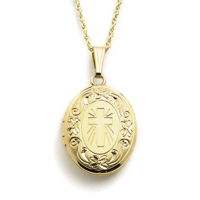 "14kt Yellow Gold Engraved Cross Locket Necklace. 18"", , default"