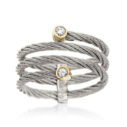 "ALOR ""Classique"" Gray Cable Coil Ring With Diamond Accents and 18kt Yellow Gold. Size 7, , default"