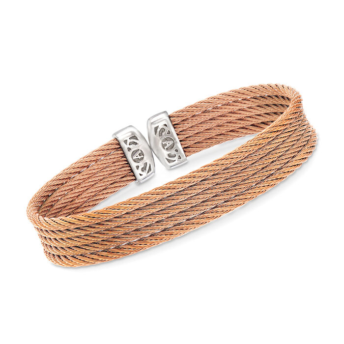"ALOR ""Classique"" Rose Multi-Strand Stainless Steel Cable Cuff. 7"", , default"
