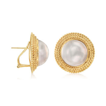 C. 1980 Vintage 15mm Cultured Mabe Pearl Roped-Frame Earrings in 14kt Yellow Gold
