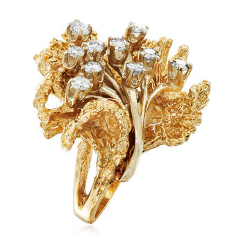 C. 1970 Vintage .65 ct. t.w. Diamond Flower Ring in 14kt Yellow Gold. Size 6, , default