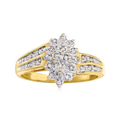 C. 1990 Vintage .25 ct. t.w. Diamond Cluster Ring in 10kt Yellow Gold