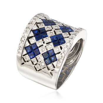 C. 1980 Vintage 2.00 ct. t.w. Sapphire and .30 ct. t.w. Diamond Ring in 14kt White Gold. Size 5.5, , default