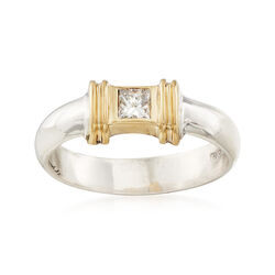C. 1990 Vintage Tiffany Jewelry .20 Carat Diamond Ring in Silver and 18kt Gold, , default