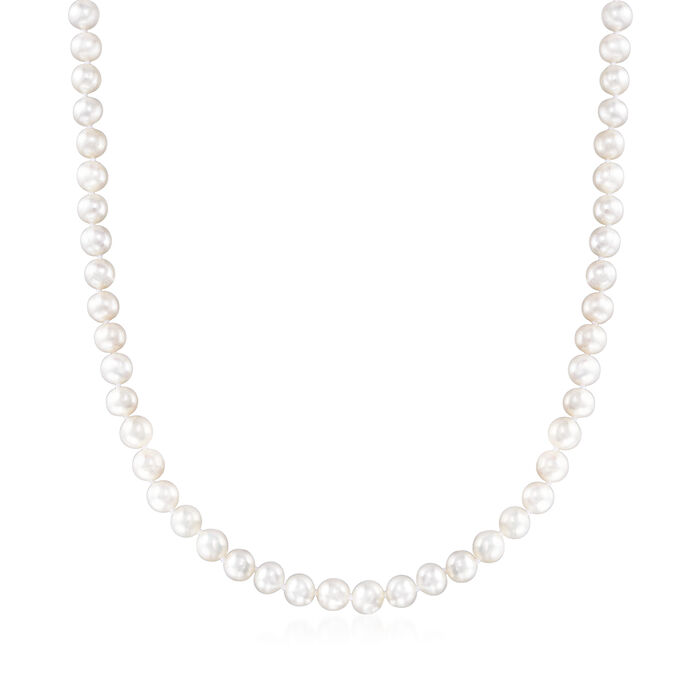 6-7mm Cultured Pearl Necklace with Sterling Silver Magnetic Clasp