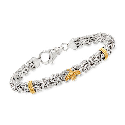 Sterling Silver Byzantine Bracelet with 14kt Yellow Gold Bee and Bar Stations, , default