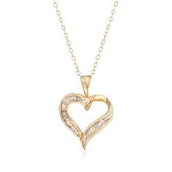C. 1980 Vintage .25 ct. t.w. Baguette Diamond Heart Pendant Necklace in 14kt Yellow Gold, , default