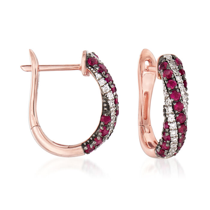 ".50 ct. t.w. Ruby and .20 ct. t.w. Diamond Hoop Earrings in 14kt Rose Gold. 1/2"", , default"