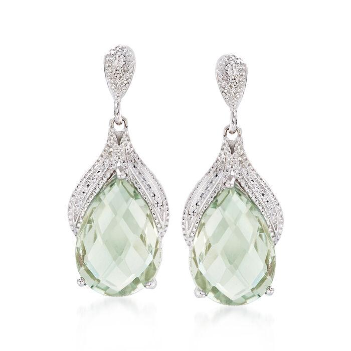 8.25 ct. t.w. Green Prasiolite Drop Earrings in Sterling Silver, , default