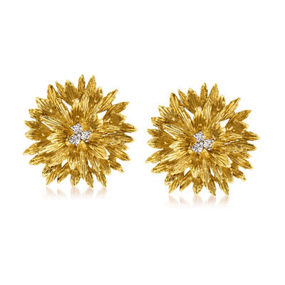 "C. 1970 Vintage Tiffany Jewelry ""Clio"" .30 ct. t.w. Diamond Flower Clip-On Earrings in 18kt Yellow Gold"