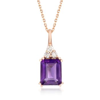 """3.20 Carat Amethyst and .19 ct. t.w. Diamond Pendant Necklace in 14kt Rose Gold. 18"""", , default"""
