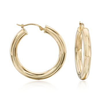 "4mm 14kt Yellow Gold Polished Hoop Earrings. 1 1/8"", , default"
